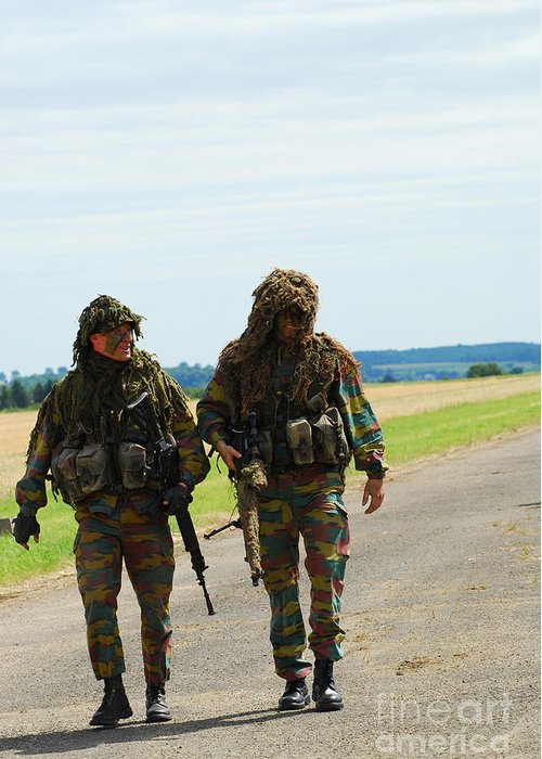 Belgium Greeting Card featuring the photograph Two Snipers Of The Belgian Army Dressed by Luc De Jaeger