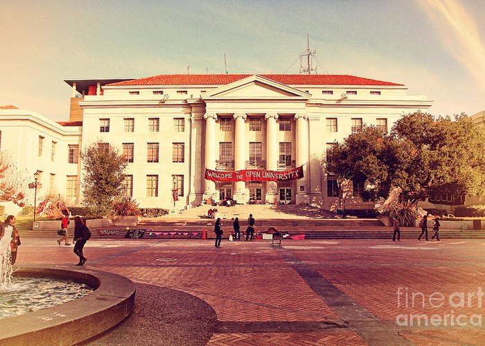 Retro Greeting Card featuring the photograph Uc Berkeley . Sproul Hall . Sproul Plaza . Occupy Uc Berkeley . 7d9994 by Wingsdomain Art and Photography