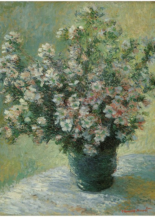 Claude Monet Greeting Card featuring the painting Vase Of Flowers by Claude Monet