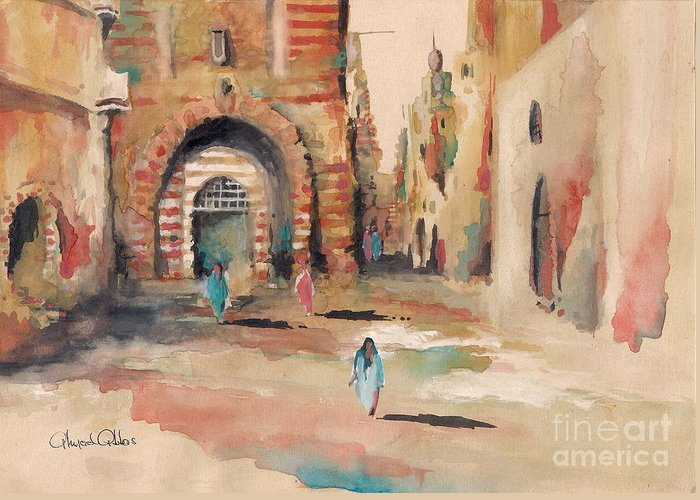 Oriental Paintings Greeting Card featuring the painting Vieille Rue Du Caire 3 by Ahmed Abbas