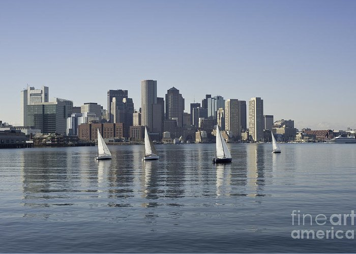 Boston Harbor Massachusetts Boats Ocean Skyline Downtown Buildings Greeting Card featuring the photograph View Of Boston Skyline From Boston Harbor by Darwin Lopez