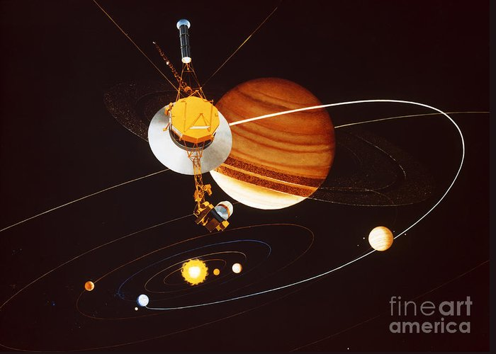 Interstellar Mission Greeting Card featuring the photograph Voyager Saturn Flyby Artwork by Science Source