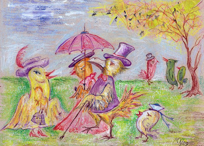 Pastel Greeting Card featuring the drawing Walk by Milen Litchkov