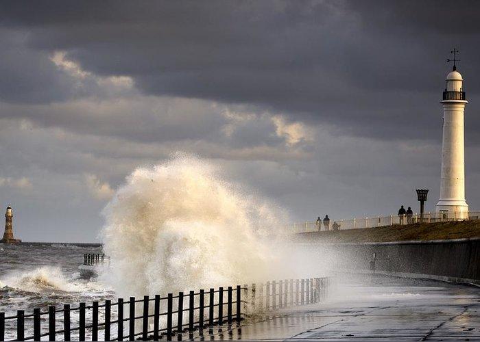 Crashing Greeting Card featuring the photograph Waves Crashing, Sunderland, Tyne And by John Short