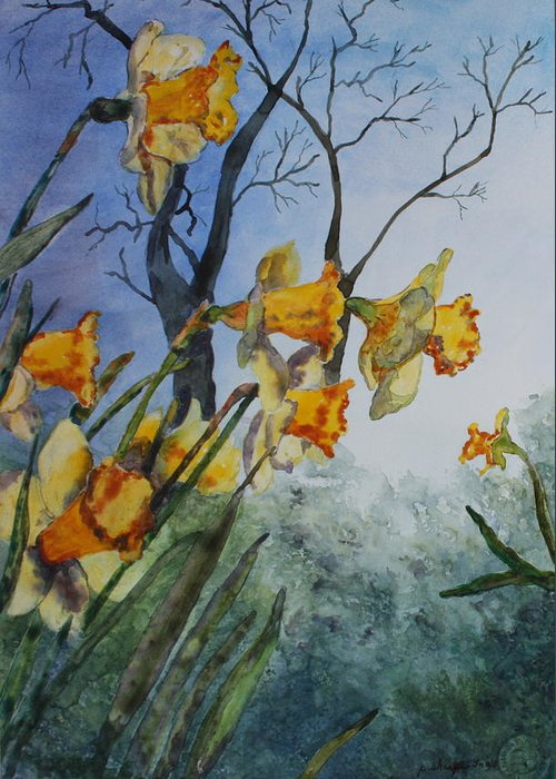 Floral Greeting Card featuring the painting Welcome Springtime by Patsy Sharpe