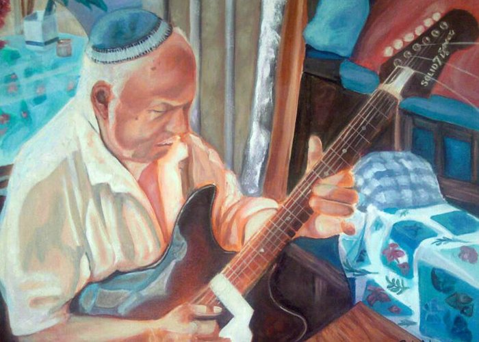 Israel Greeting Card featuring the painting While My Guitar Gently Weeps by Paula Michelle