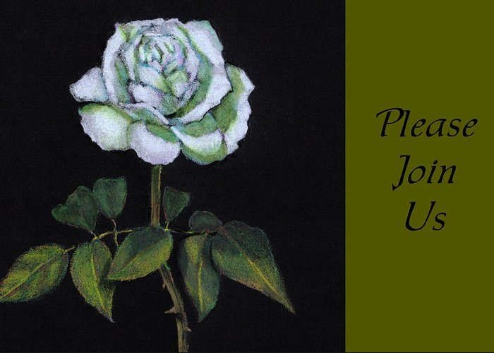 Invite Greeting Card featuring the drawing White Rose Invitation Card by Joyce Geleynse