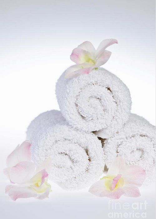 Towels Greeting Card featuring the photograph White Spa by Elena Elisseeva
