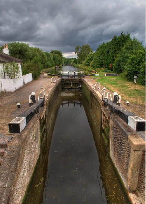 Grand Union Canal Greeting Card featuring the photograph Wide Water Lock by Chris Day