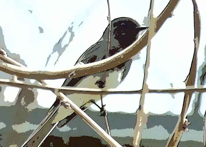Bird On A Vine In The Winter Greeting Card featuring the digital art Winter Bird by Artist and Photographer Laura Wrede