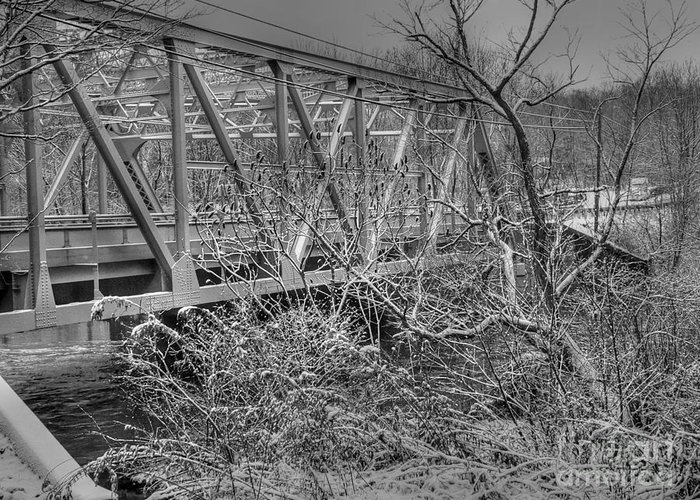 Castlemans River Greeting Card featuring the photograph Winter Bridge by David Bearden