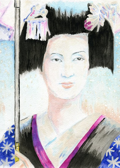 Gouache Greeting Card featuring the painting Winter Geisha by Karen Clark