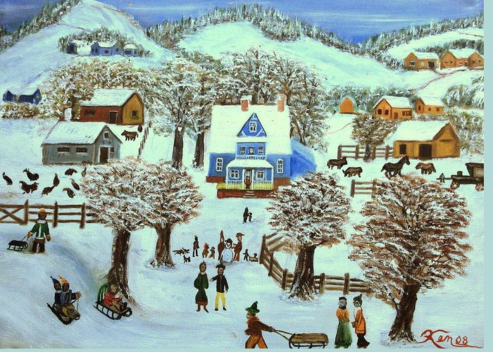 Folk Art Greeting Card featuring the painting Winter Village by Kenneth LePoidevin