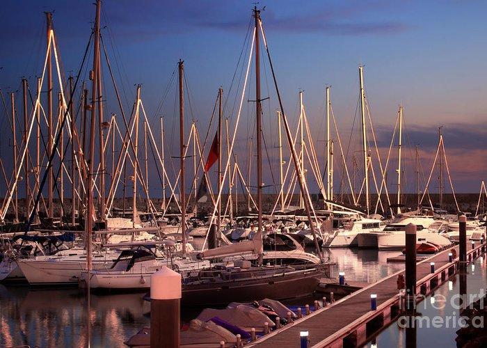 Anchor Greeting Card featuring the photograph Yacht Marina by Carlos Caetano