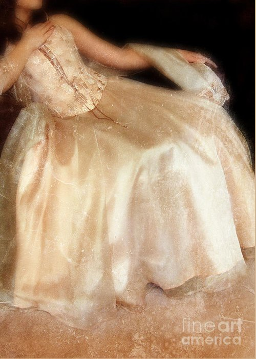 Young Greeting Card featuring the photograph Young Lady Sitting In Satin Gown by Jill Battaglia