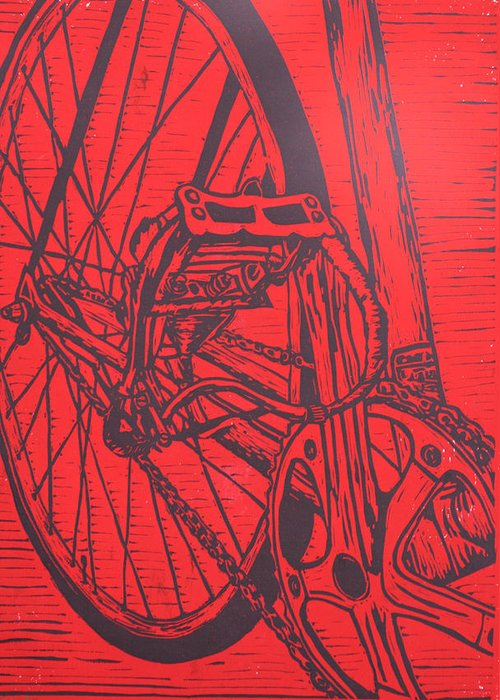 Bike Greeting Card featuring the drawing Bike 3 by William Cauthern