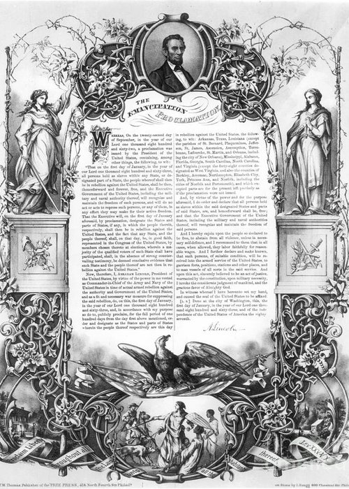 1860s Greeting Card featuring the photograph Emancipation Proclamation by Granger