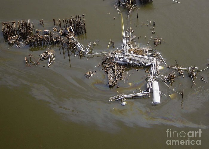 Katrina Greeting Card featuring the photograph Hurricane Katrina Damage by Science Source