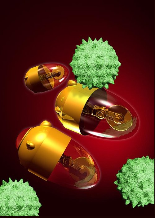 Artwork Greeting Card featuring the photograph Medical Nanorobots, Artwork by Victor Habbick Visions