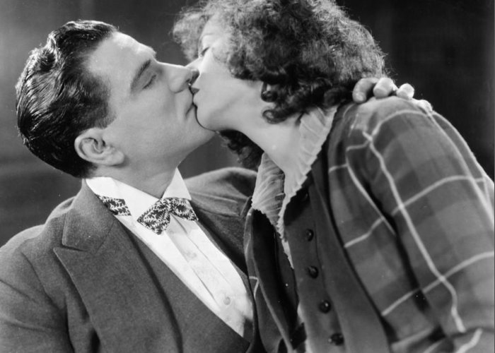 -kissing- Greeting Card featuring the photograph Silent Film Still by Granger