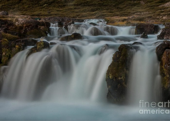Waterfall Greeting Card featuring the photograph Waterfall Iceland by Jorgen Norgaard