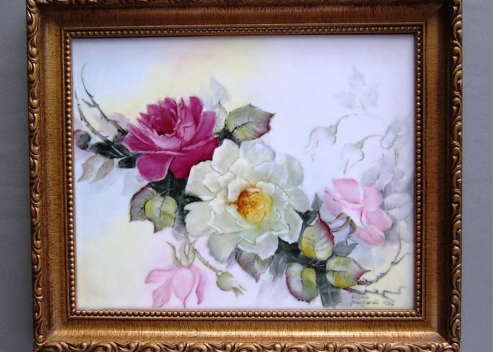 Porcelain Greeting Card featuring the ceramic art 1106 Framed Rose Tile by Wilma Manhardt