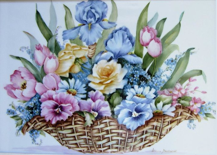 Porcelain Greeting Card featuring the ceramic art 1119 B Flower Basket by Wilma Manhardt