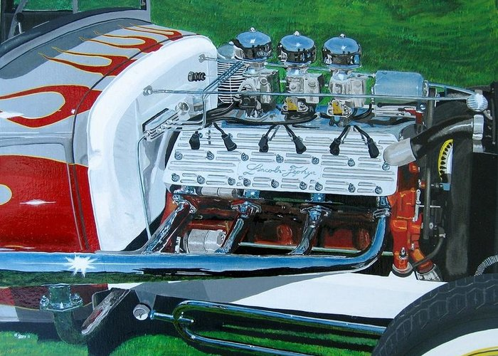 Hot Rod Greeting Card featuring the painting 12 Clyinder Flattie by Butch Henry