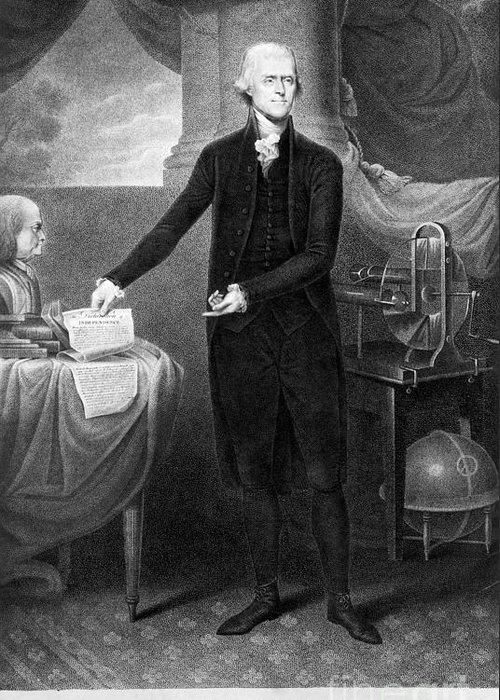1801 Greeting Card featuring the photograph Thomas Jefferson (1743-1826) by Granger
