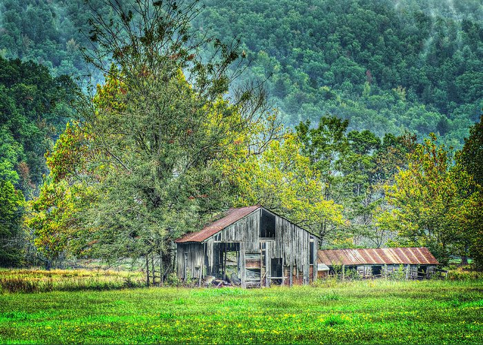 Barn Greeting Card featuring the photograph 1209-1298 - Boxley Valley Barn 2 by Randy Forrester