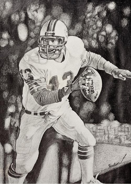Dan Marino Greeting Card featuring the drawing 13 by Mike Haslam