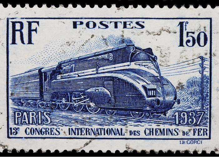 Old French Postage Stamp Greeting Card featuring the photograph old French postage stamp by James Hill