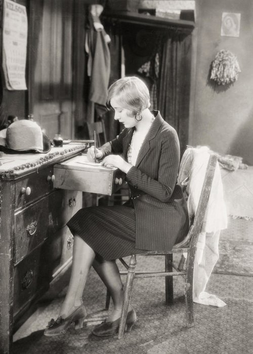 -women Single Figures- Greeting Card featuring the photograph Silent Film Still: Woman by Granger