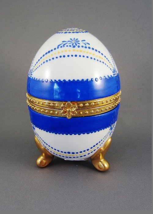 Porcelain Greeting Card featuring the ceramic art 1529 Hinged Egg-box by Wilma Manhardt
