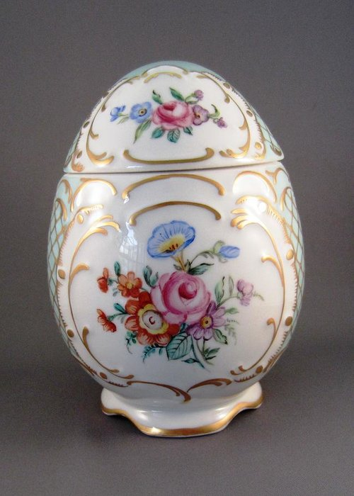 Porcelain Greeting Card featuring the ceramic art 1544 German Egg Box by Wilma Manhardt