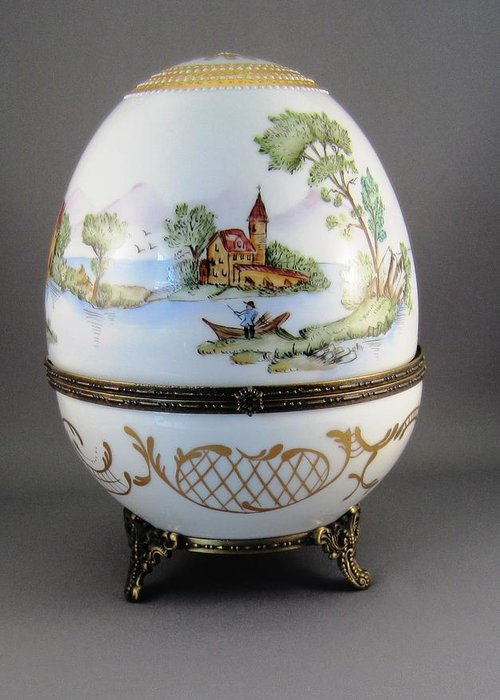 Porcelain Greeting Card featuring the ceramic art 1546 Hinged Egg-box With 3 Scenes by Wilma Manhardt