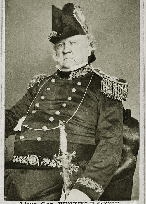 1862 Greeting Card featuring the photograph Winfield Scott (1786-1866) by Granger