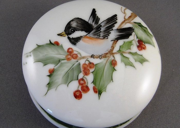 Porcelain Greeting Card featuring the ceramic art 1646 Chickadee Box by Wilma Manhardt