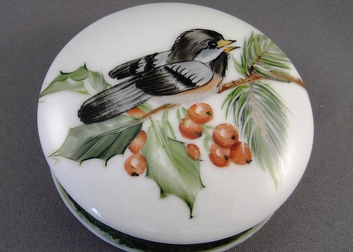 Porcelain Greeting Card featuring the ceramic art 1647 Chickadee Box by Wilma Manhardt
