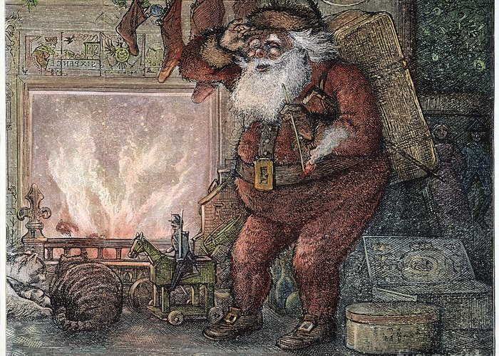 1878 Greeting Card featuring the photograph Thomas Nast: Santa Claus by Granger