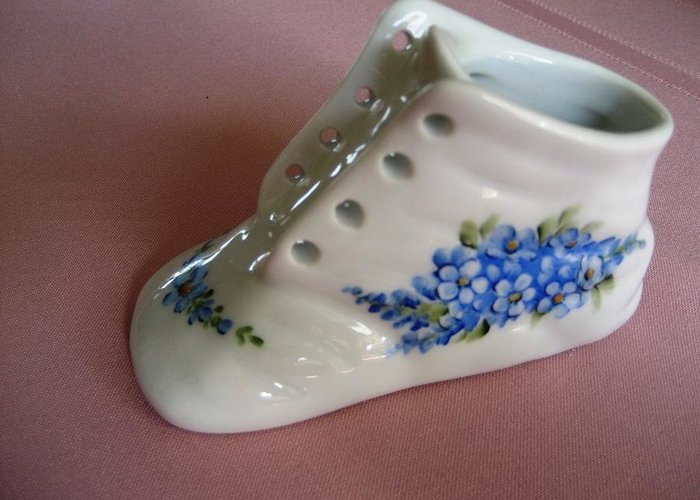 Porcelain Greeting Card featuring the ceramic art 1706 Baby Shoe Blue by Wilma Manhardt