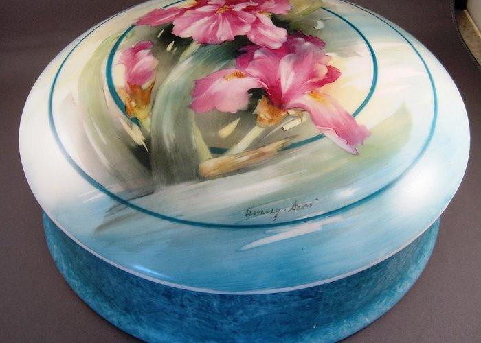 Porcelein Greeting Card featuring the ceramic art 172 Chocolate Box Pink Irises by Wilma Manhardt