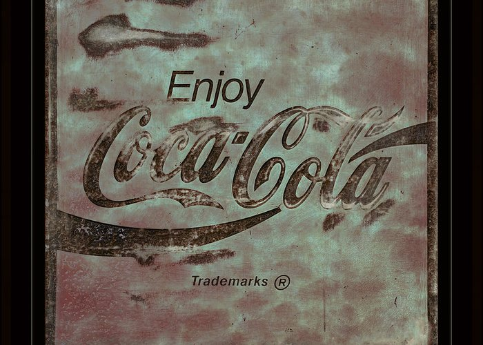 Coca Cola Greeting Card featuring the photograph Coca Cola Sign Grungy Retro Style by John Stephens