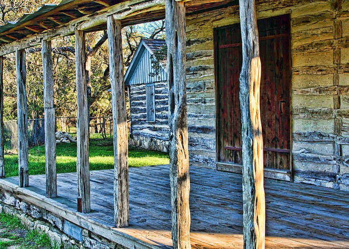 Architecture Greeting Card featuring the photograph 1860 Log Cabin Porch by Linda Phelps