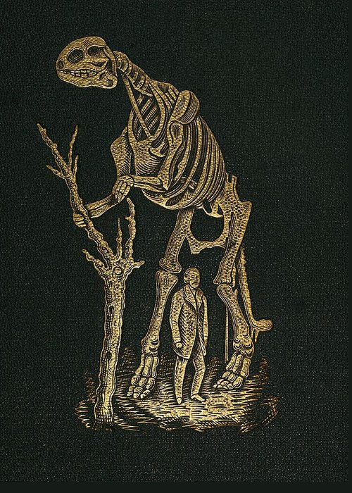 Academy Of Natural Sciences Greeting Card featuring the photograph 1868 Waterhouse Hawkins & Hadrosaur Gilt by Paul D Stewart