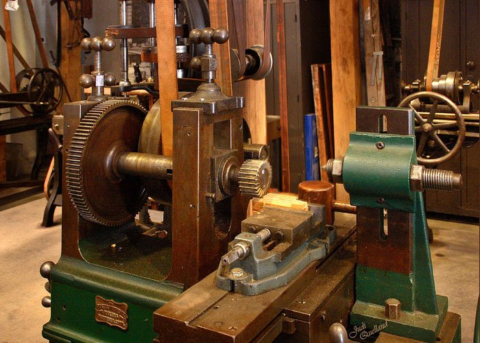 Machines Greeting Card featuring the photograph 18th Century Machine Shop by Judi Quelland