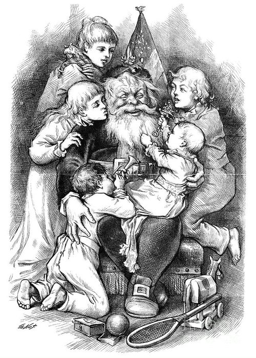 19th Century Greeting Card featuring the photograph Thomas Nast: Santa Claus by Granger