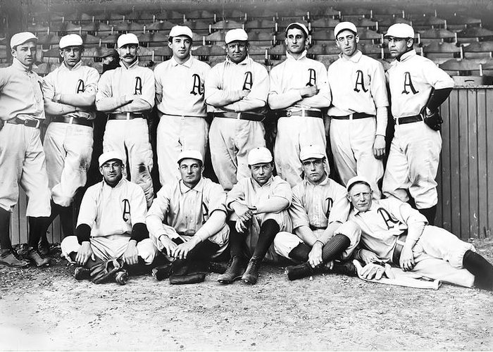 1902 Philadelphia Athletics Greeting Card featuring the photograph 1902 Philadelphia Athletics by Bill Cannon