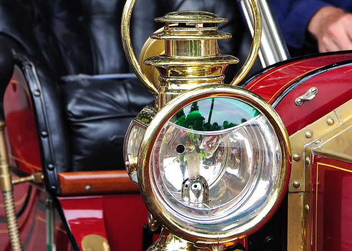 Photography Greeting Card featuring the photograph 1907 Stanley Steamer - Lantern by Kaye Menner