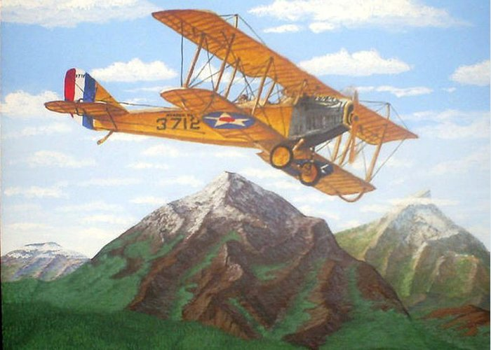 Landscape Greeting Card featuring the painting 1917 Curtis Jenny Jn4 Used By The Army Air Corps by Mickael Bruce
